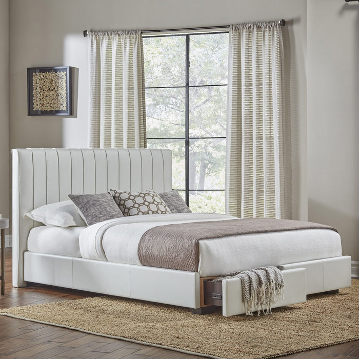 Leggett & Platt Delaney Storage Bed w/ Faux-Leather Upholstered Frame & (2) Footboard Drawers, White Finish, California King