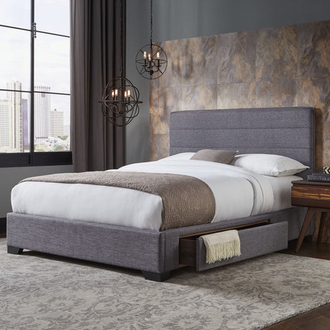 Leggett & Platt Oliver Storage Bed w/ Upholstered Frame & Single Side Drawer, Gravel Grey Finish, California King-Storage Beds-HipBeds.com
