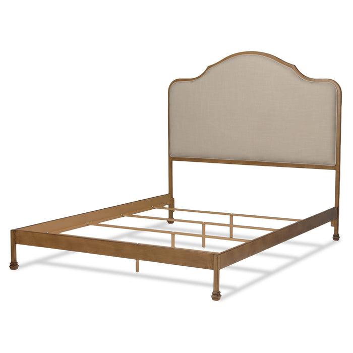 Leggett & Platt Calvados Bed w/ Metal Headboard & Sand Colored Upholstery, Natural Oak Finish, California King