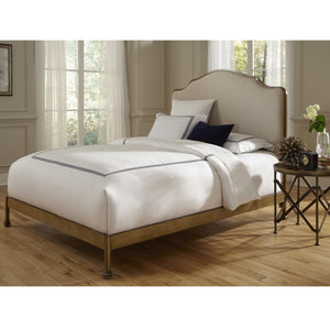 Leggett & Platt Calvados Bed w/ Metal Headboard & Sand Colored Upholstery, Natural Oak Finish, California King-Beds-HipBeds.com