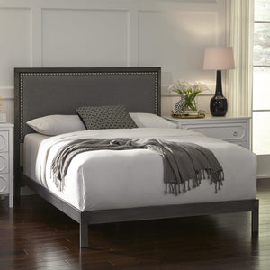 Leggett & Platt Normandy Platform Bed w/ Metal Frame & Gray Upholstered Headboard, California King-Beds-HipBeds.com