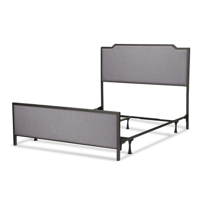 Leggett & Platt Bayview Bed w/ Metal Panels & Gray Upholstery, Black Pearl Finish, Queen