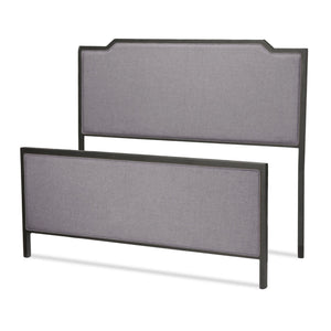 Leggett & Platt Bayview Bed w/ Metal Panels & Gray Upholstery, Black Pearl Finish, California King-Beds-HipBeds.com
