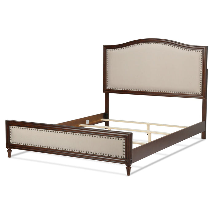 Leggett & Platt Granr Platform Bed w/ Detailed Wooden Frame & Cream Upholstery, Espresso Finish, California King