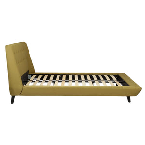 Leggett & Platt Prelude Complete Platform Bed w/ Button-Tuft, Willow Finish, Queen-Beds-HipBeds.com