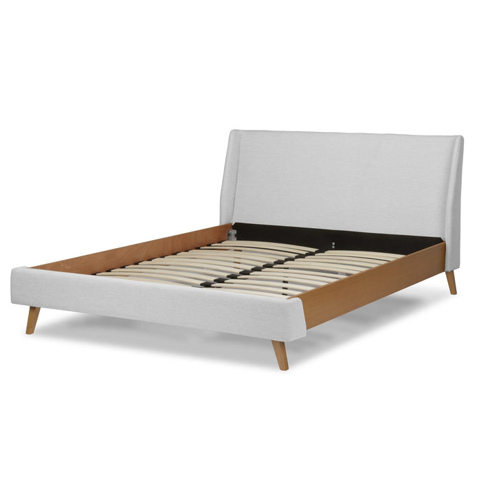 Leggett & Platt Palmer Complete Platform Bed w/ Upholstered Exterior, Flax Finish, California King