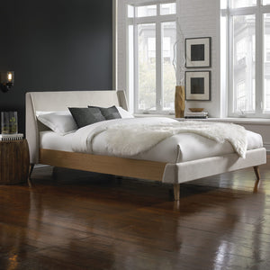 Leggett & Platt Palmer Complete Platform Bed w/ Upholstered Exterior, Flax Finish, California King-Beds-HipBeds.com