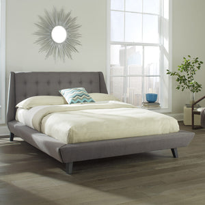 Leggett & Platt Prelude Complete Platform Bed w/ Button-Tuft, Ash Finish, California King-Beds-HipBeds.com