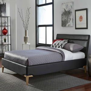Leggett & Platt Lakeview Complete Platform Bed w/ Upholstered Frame, Obsidian Finish, Queen-Beds-HipBeds.com