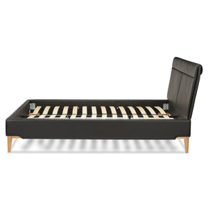 Leggett & Platt Lakeview Complete Platform Bed w/ Upholstered Frame, Obsidian Finish, King-Beds-HipBeds.com