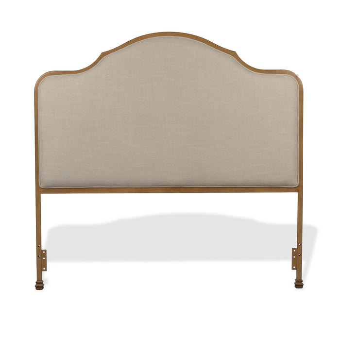 Leggett & Platt Calvados Metal Headboard w/ Sand Colored Upholstery, Natural Oak Finish, California King