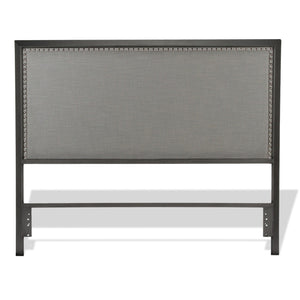 Leggett & Platt Normandy Metal Headboard w/ Gray Upholstery, King-Headboards & Footboards-HipBeds.com