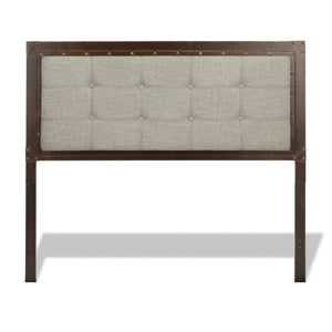 Leggett & Platt Gotham Metal Headboard w/ Dark Latte Upholstered Panel, Brushed Copper Finish, Queen-Headboards & Footboards-HipBeds.com