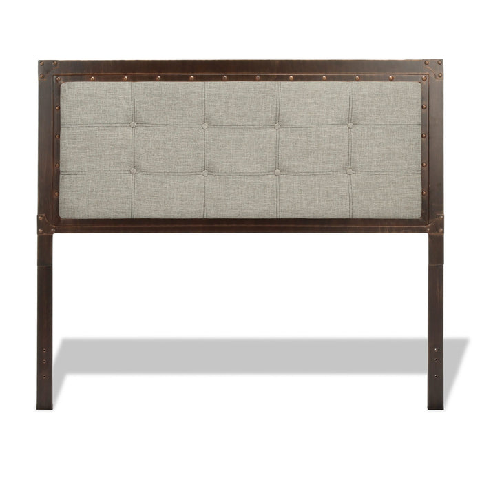 Leggett & Platt Gotham Metal Headboard w/ Dark Latte Upholstered Panel, Brushed Copper Finish, Queen