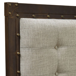 Leggett & Platt Gotham Metal Headboard w/ Dark Latte Upholstered Panel, Brushed Copper Finish, California King-Headboards & Footboards-HipBeds.com