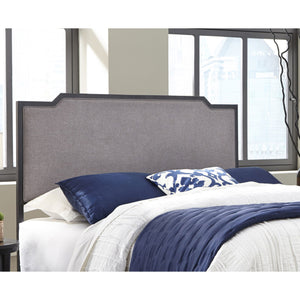 Leggett & Platt Bayview Metal Headboard w/ Gray Upholstery, Black Pearl Finish, Full-Headboards & Footboards-HipBeds.com