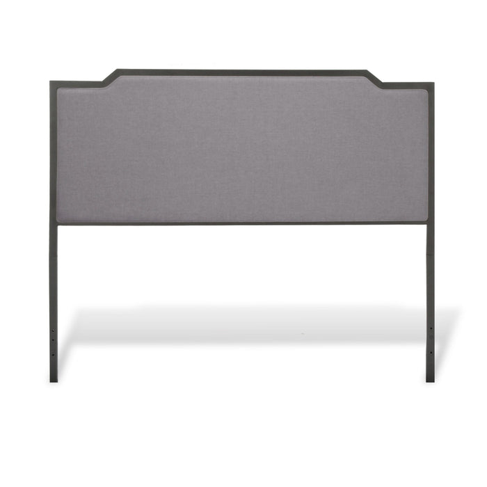 Leggett & Platt Bayview Metal Headboard w/ Gray Upholstery, Black Pearl Finish, Queen