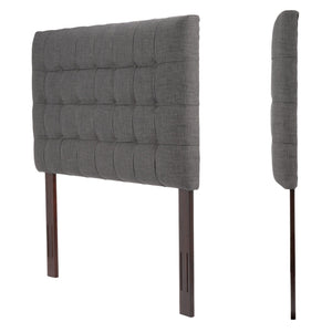 Leggett & Platt Strasbourg Upholstered Adjustable Headboard Pane, Charcoal Finish, King / California King-Headboards & Footboards-HipBeds.com