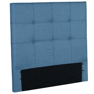 Leggett & Platt Henley Upholstered Kids Headboard Panel w/ Button Tufted Design, Denim Blue Finish, Twin-Headboards & Footboards-HipBeds.com