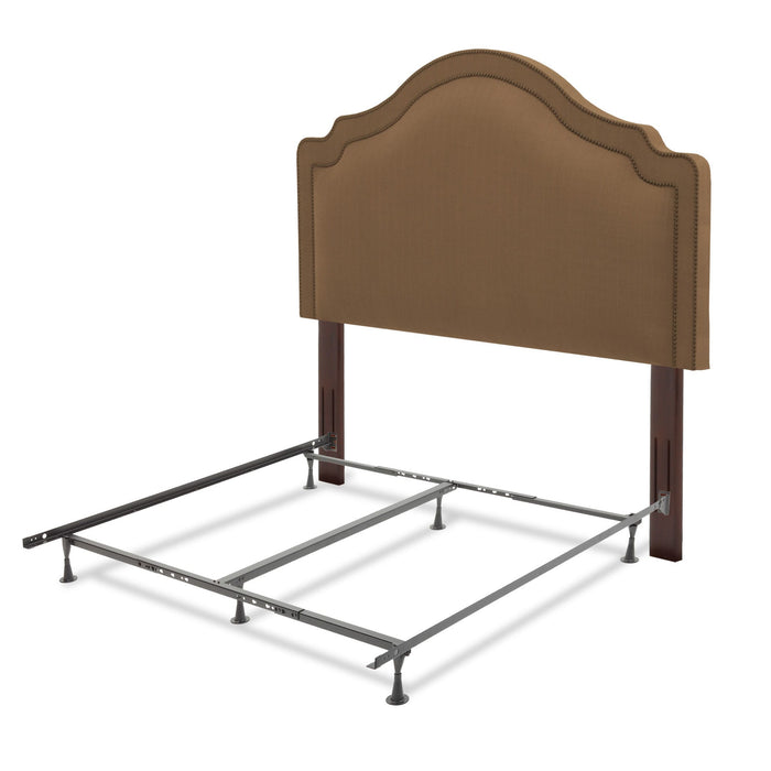 Leggett & Platt Versailles Bed w/ Upholstered Headboard & Q45G Steel Support Frame, Brown Finish, Full / Queen