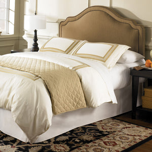 Leggett & Platt Versailles Bed w/ Upholstered Headboard & 45G Steel Support Frame, Brown Finish, Twin-Beds-HipBeds.com