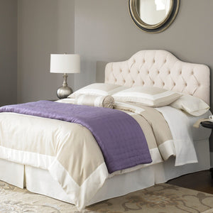 Leggett & Platt Martinique Bed w/ Upholstered Headboard & 45G Steel Support Frame, Ivory Finish, Twin-Beds-HipBeds.com