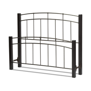 Leggett & Platt Scottsdale Bed w/ Metal Panels & Dark Wooden Posts, Black Finish, Twin-Headboards & Footboards-HipBeds.com