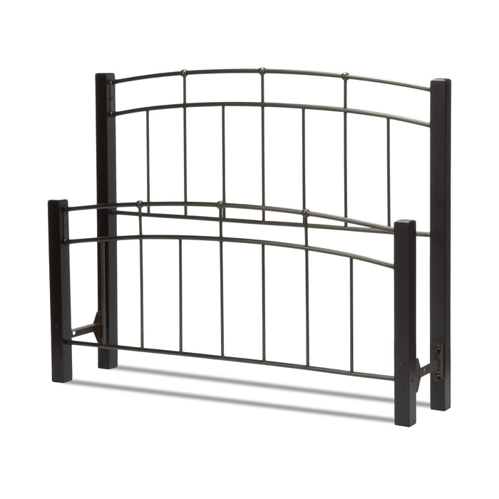 Leggett & Platt Scottsdale Bed w/ Metal Panels & Dark Wooden Posts, Black Finish, Twin