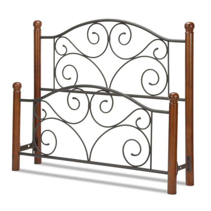 Leggett & Platt Doral Bed w/ Metal Panels & Dark Walnut Wood Posts, Matte Black Finish, Full