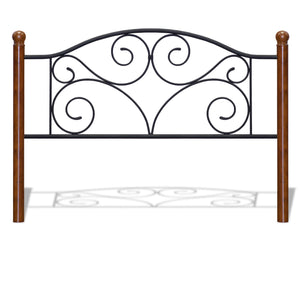 Leggett & Platt Doral Bed w/ Metal Panels & Dark Walnut Wood Posts, Matte Black Finish, Full-Headboards & Footboards-HipBeds.com