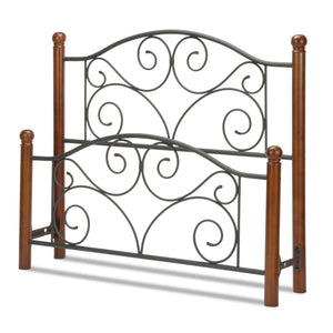 Leggett & Platt Doral Bed w/ Metal Panels & Dark Walnut Wood Posts, Matte Black Finish, King-Headboards & Footboards-HipBeds.com