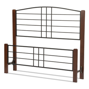 Leggett & Platt Dayton Bed w/ Metal Panels & Flat Wooden Posts, Black Grain Finish, King-Headboards & Footboards-HipBeds.com