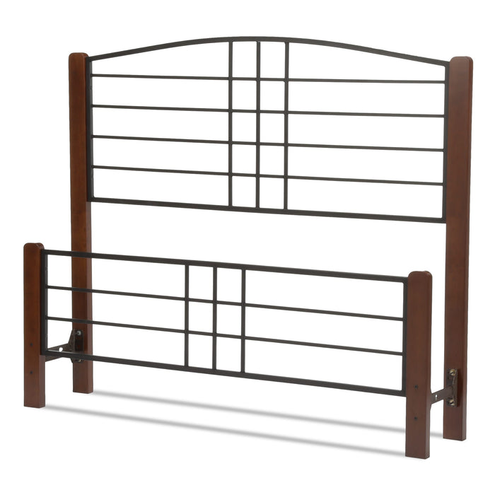 Leggett & Platt Dayton Bed w/ Metal Panels & Flat Wooden Posts, Black Grain Finish, King