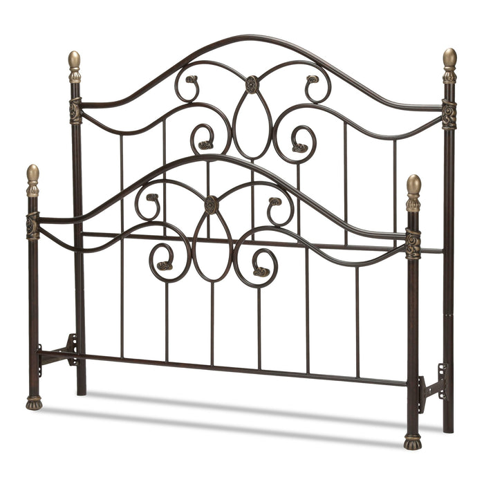 Leggett & Platt Dynasty Bed w/ Arched Metal Duo Panels & Scalloped Finial Posts, Brown Finish, Queen