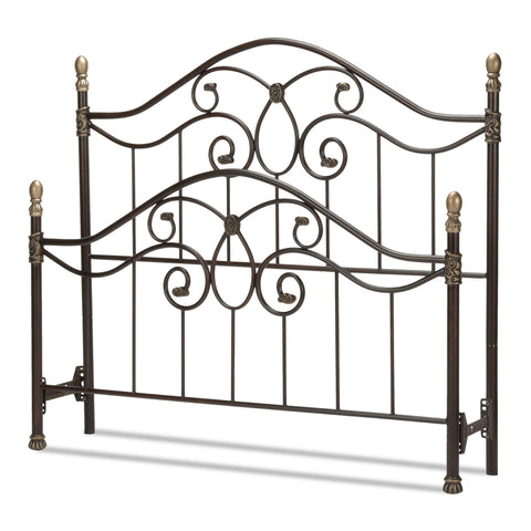 Leggett & Platt Dynasty Bed w/ Arched Metal Duo Panels & Scalloped Finial Posts, Brown Finish, King-Headboards & Footboards-HipBeds.com