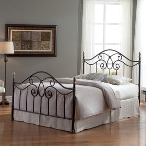 Leggett & Platt Dynasty Bed w/ Arched Metal Duo Panels & Scalloped Finial Posts, Brown Finish, California King-Headboards & Footboards-HipBeds.com