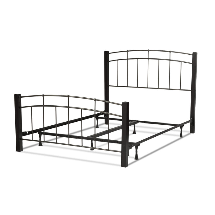 Leggett & Platt Scottsdale Bed w/ Metal Panels & Dark Wooden Posts, Black Finish, King