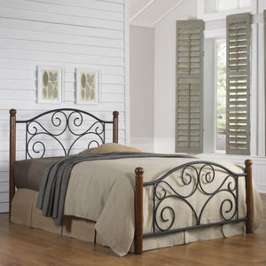 Leggett & Platt Doral Bed w/ Metal Panels & Dark Walnut Wood Posts, Matte Black Finish, Full-Beds-HipBeds.com