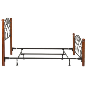Leggett & Platt Doral Bed w/ Metal Panels & Dark Walnut Wood Posts, Matte Black Finish, Queen-Beds-HipBeds.com