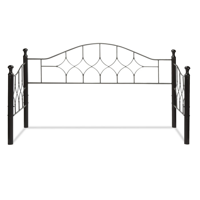 Leggett & Platt Bianca Metal Daybed Frame w/ Arched Back Panel & Espresso Wood Finial Posts, Hammered Pewter Finish, Twin