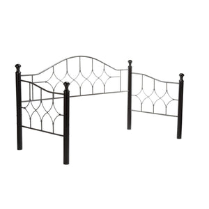 Leggett & Platt Bianca Metal Daybed Frame w/ Arched Back Panel & Espresso Wood Finial Posts, Hammered Pewter Finish, Twin-Daybeds-HipBeds.com