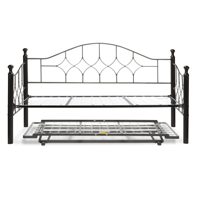 Leggett & Platt Bianca Metal Daybed w/ Link Spring & Trundle Bed Pop-Up Frame, Hammered Pewter Finish, Twin