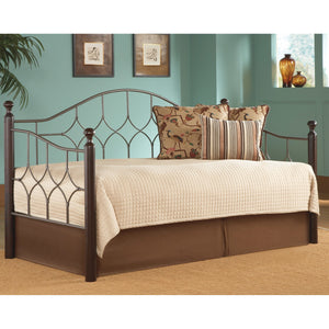 Leggett & Platt Bianca Metal Daybed w/ Link Spring & Trundle Bed Pop-Up Frame, Hammered Pewter Finish, Twin-Daybeds-HipBeds.com