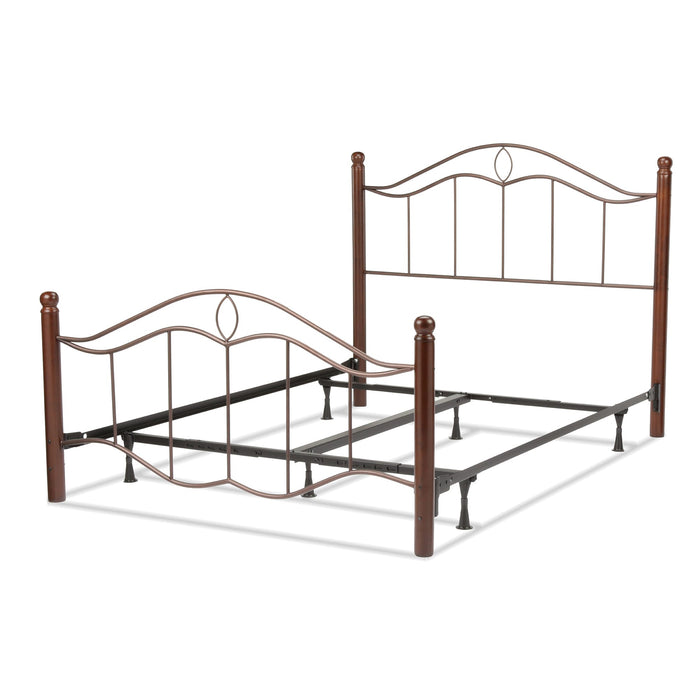Leggett & Platt Cassidy Bed w/ Metal Panels & Dark Walnut Wood Posts, Mink Finish, Queen
