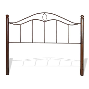 Leggett & Platt Cassidy Bed w/ Metal Panels & Dark Walnut Wood Posts, Mink Finish, Queen-Beds-HipBeds.com