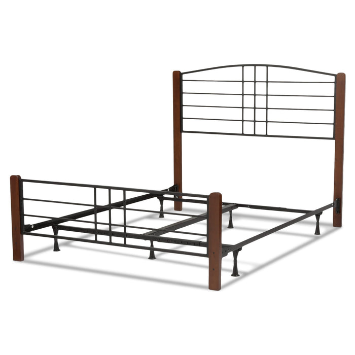 Leggett & Platt Dayton Bed w/ Metal Panels & Flat Wooden Posts, Black Grain Finish, California King