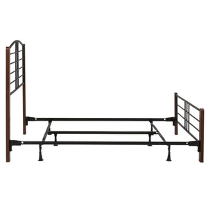Leggett & Platt Dayton Bed w/ Metal Panels & Flat Wooden Posts, Black Grain Finish, California King-Beds-HipBeds.com