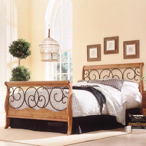 Leggett & Platt Dunhill Bed w/ Wood Frame & Brown Scrolls, Honey Oak Finish, King-Beds-HipBeds.com
