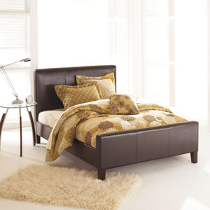 Leggett & Platt Euro Platform Bed w/ Side Rails & Soft Upholstered Exterior, Sable Finish, Queen-Beds-HipBeds.com