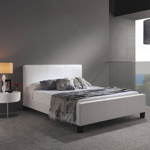 Leggett & Platt Euro Platform Bed w/ Side Rails & Soft Upholstered Exterior, White Finish, Queen-Beds-HipBeds.com